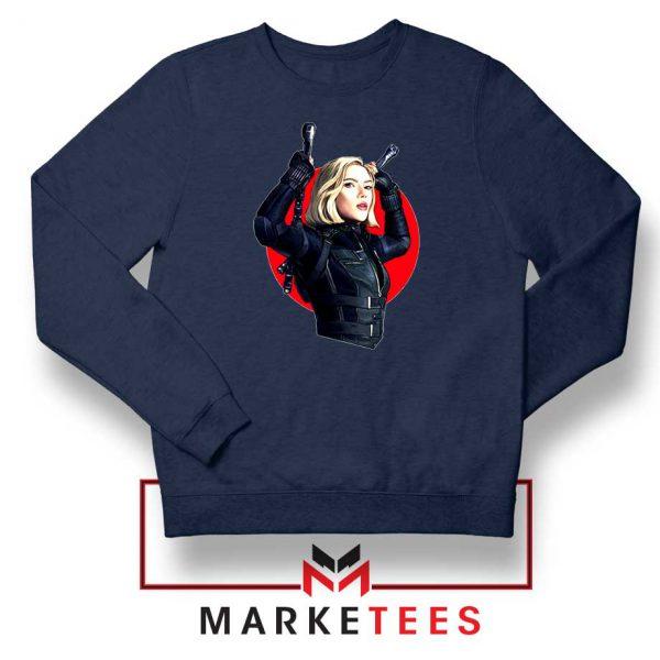 Marvels Black Widow Superhero Navy Blue Sweatshirt