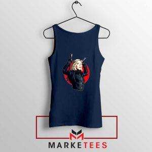 Marvels Black Widow Superhero Navy Blue Tank Top