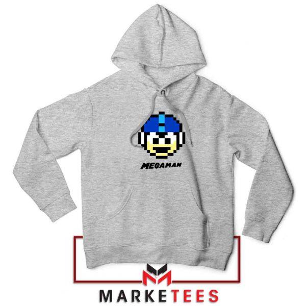 Mega Man Game Pixel Face Grey Hoodie