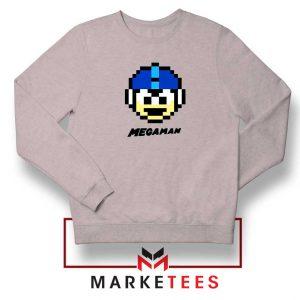 Mega Man Game Pixel Face Grey Sweatshirt