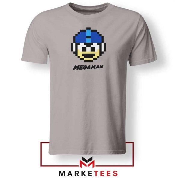 Mega Man Game Pixel Face Grey Tshirt