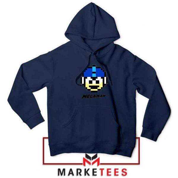 Mega Man Game Pixel Face Navy Blue Hoodie
