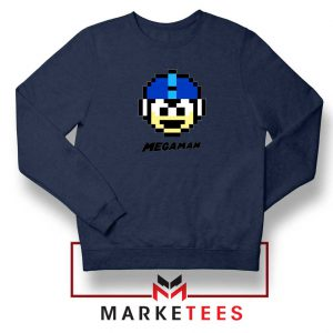 Mega Man Game Pixel Face Navy Blue Sweatshirt