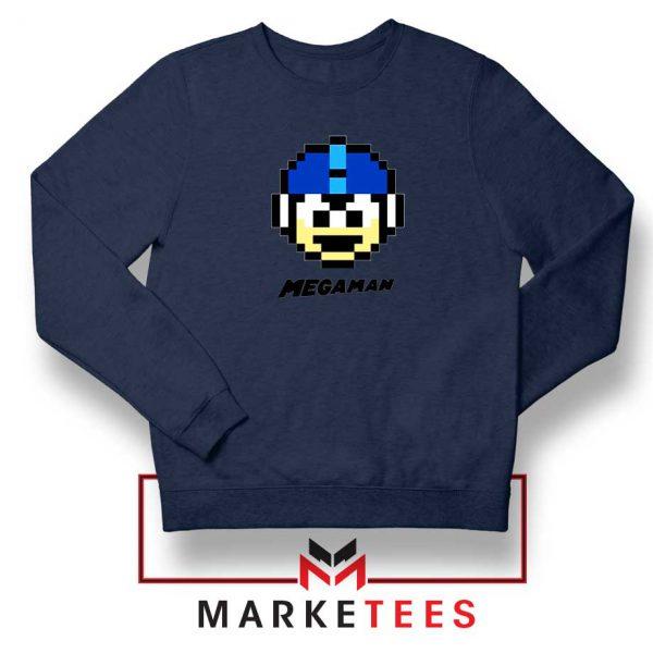 Mega Man Game Pixel Face Navy Blue Sweatshirt