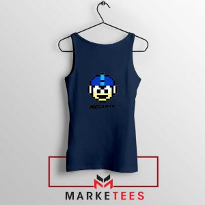 Mega Man Game Pixel Face Navy Blue Tank Top