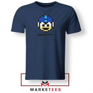 Mega Man Game Pixel Face Navy Blue Tshirt