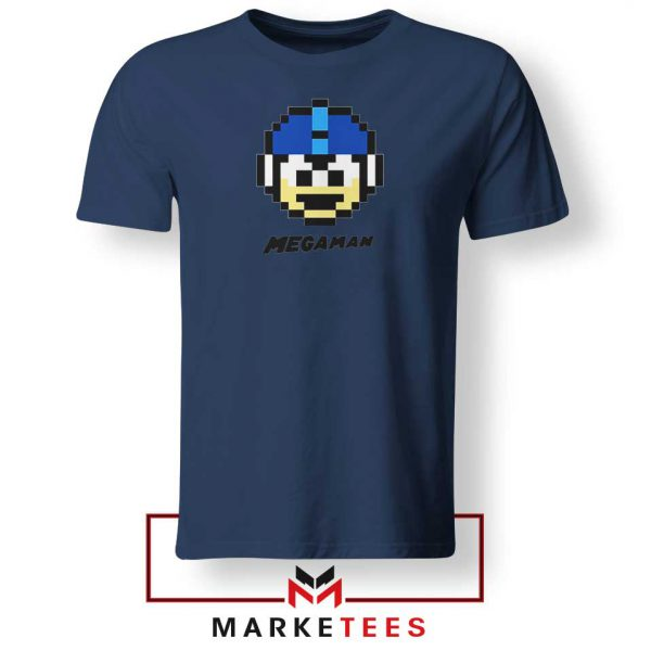 Mega Man Game Pixel Face Navy Blue Tshirt