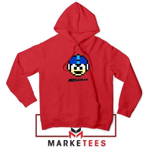 Mega Man Game Pixel Face Red Hoodie