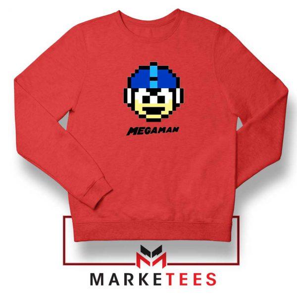 Mega Man Game Pixel Face Red Sweatshirt