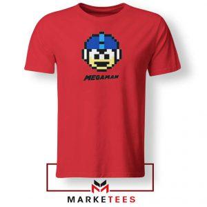 Mega Man Game Pixel Face Red Tshirt