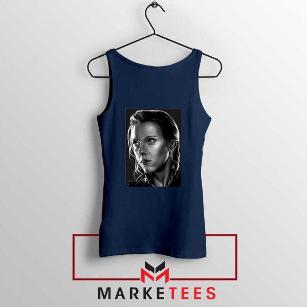 Natasha Romanoff Portrait Cheap Navy Blue Tank Top