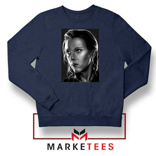 Natasha Romanoff Portrait Navy Blue Sweatshirt