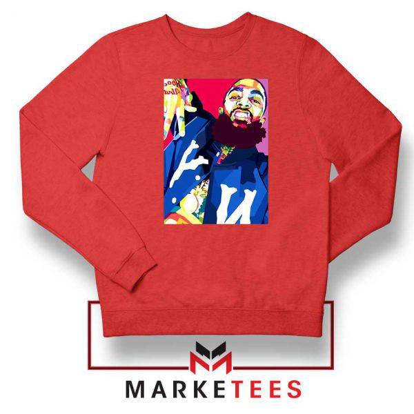 Nipsey Hussle Art Illustration Red Sweatshirt