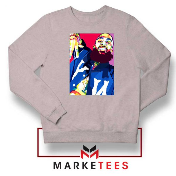 Nipsey Hussle Art Illustration Sport Grey Sweatshirt