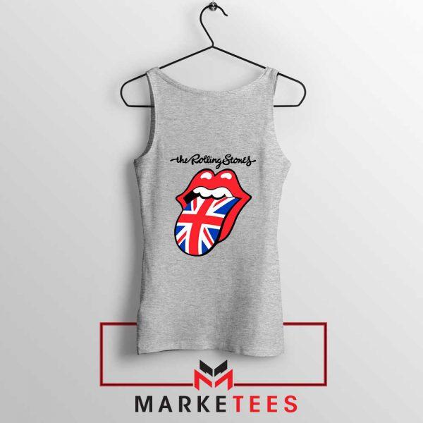 Rolling Stones Band UK Tongue Grey Tank Top