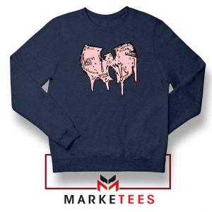 Shop Wuu Hiphop Music Cheap Navy Blue Sweatshirt