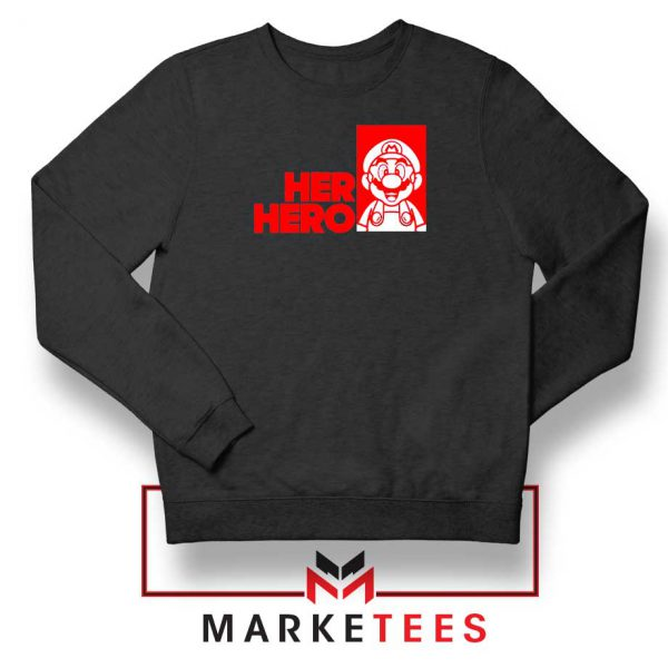 Super Mario Game Her Hero Black Sweatshirt