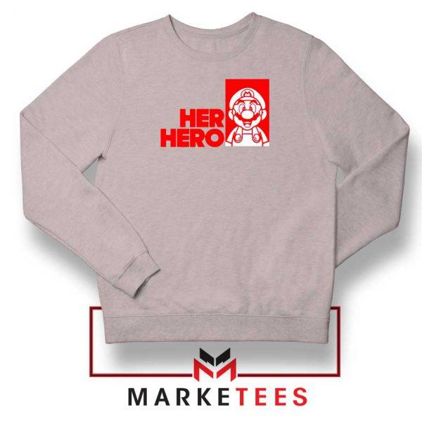 Super Mario Game Her Hero Grey Sweatshirt