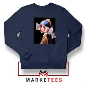 Billie Eilish Art Parody Navy Blue Sweatshirt