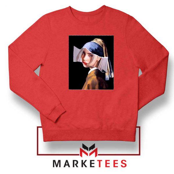 Billie Eilish Art Parody Red Sweatshirt