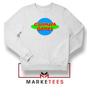 Coolmath Planet Logo White Sweatshirt