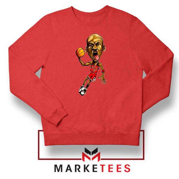 Michael Jordan Caricature NBA Red Sweatshirt