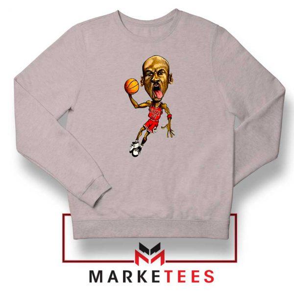 Michael Jordan Caricature NBA Sport Grey Sweatshirt