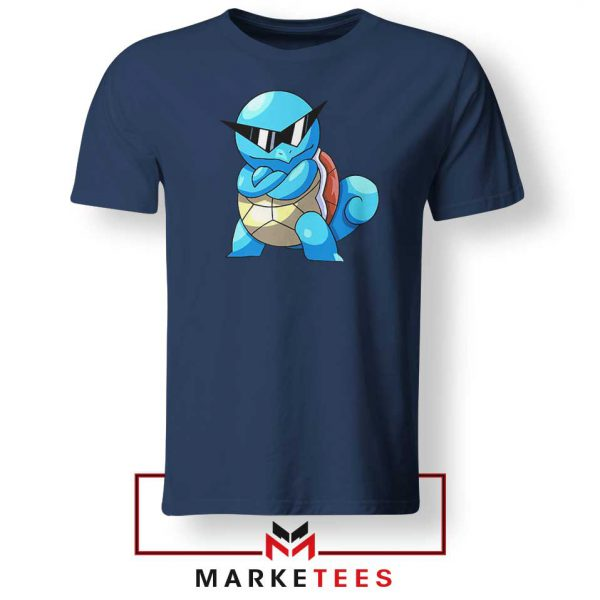 Squirtle Shades Pokemon Design Navy Blue Tshirt