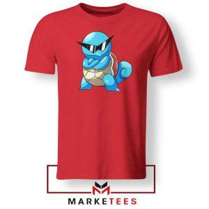 Squirtle Shades Pokemon Design Red Tshirt