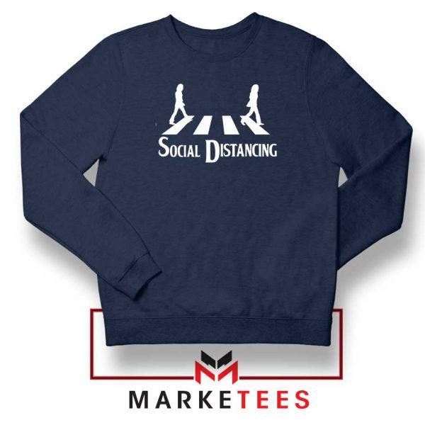 The Beatles Social Distancing Navy Blue Sweatshirt