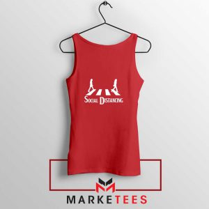 The Beatles Social Distancing Red Tank Top