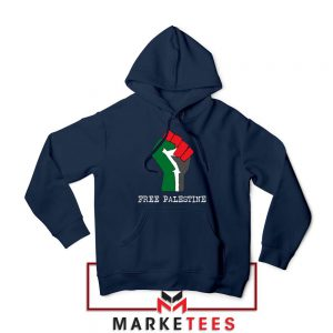 Free Palestine Rise Your Hand Navy Blue Hoodie