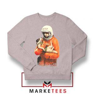 Russian Astronauts Dog Sport Grey Sweatshirt