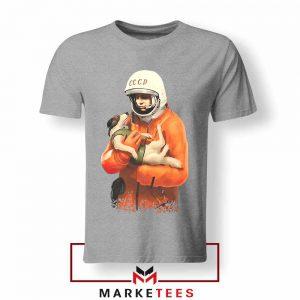 Russian Astronauts Dog Sport Grey Tshirt