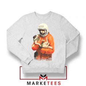 Russian Astronauts Dog White Sweatshirt