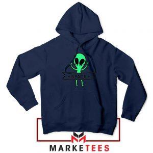 Alien Space 90s Designs Navy Blue Hoodie