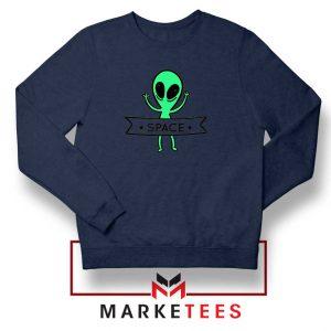 Alien Space 90s Designs Navy Blue Sweater