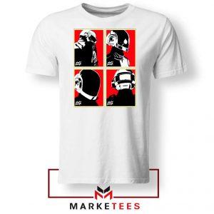 Daft Punk Helmets Graphic White Tshirt