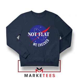 Funny NASA Not Flat Graphic Navy Blue Sweater
