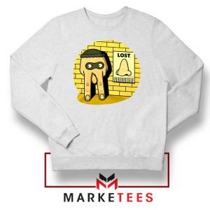 Lost Nose Dad Jokes Graphic White Sweater