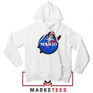 Mario Nasa Logo Graphic White Hoodie