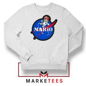 Mario Nasa Logo Graphic White Sweatshirt