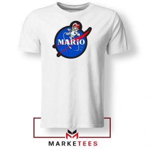 Mario Nasa Logo Graphic White Tshirt