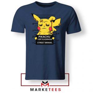 Pikachu Street Brawl Crime Navy Blue Tshirt