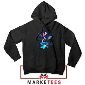 Stitch Character Adidas Parody Black Hoodie