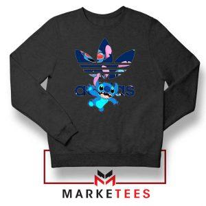 Stitch Character Adidas Parody Black Sweater