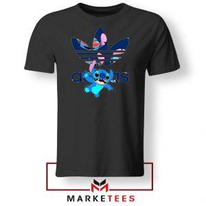 Stitch Character Adidas Parody Black Tshirt