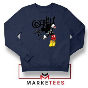 Banksy Mickey Chaos Disobey Navy Sweater