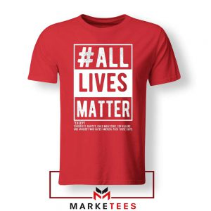 All Life Matter Movement Red Tshirt