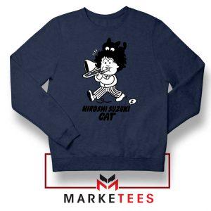 Cat Hiroshi Suzuki Graphic Navy Blue Sweatshirt